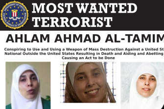The most wanted poster for Ahlam Aref Ahmad al-Tamimi, a Jordanian woman charged in connection with a 2001 bombing of a Jerusalem pizza restaurant that killed 15 people and injured dozens of others.