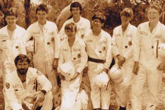 Sixteen-year-old Shane Fitzsimmons in 1985 (front, centre, holding hat at waist level) with his dad, George (bottom left), and their Duffys Forest Rural Fire Brigade crew. George was killed with three other firefighters during a hazard-reduction burn in Ku-ring-gai Chase National Park in 2000.