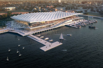 An artist's impression of the new Sydney Fish Market building at the head of Blackwattle Bay.