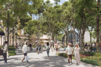 An artist's impression of Ryde Council'sconcept plans for the interchange and publicplaza at Macquarie Park.