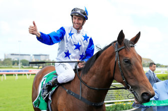 Nash Rawiller on The Bostonian returns to scale after winning the Heineken 3 Canterbury Stakes.