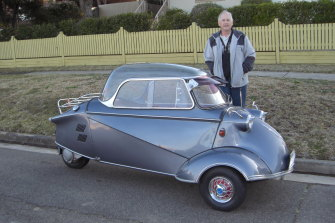 Fred Diwell with the Messerschmitt before it was repainted in Parramatta Park.