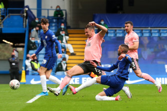 Hakim Ziyech scores for Chelsea against Sheffield Untied at Stamford Bridge on Sunday.