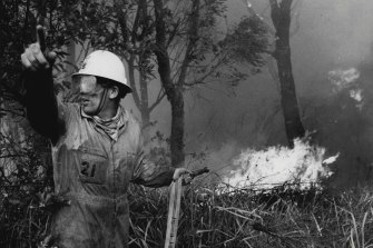 A fire-fighter battles flames yesterday at Forest Way, Belrose. December 18, 1979.