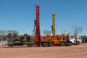 Gas exploration drills parked near the roadhouse at Daly Waters in the Northern Territory.