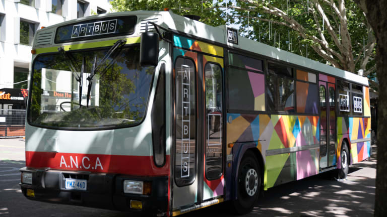 The ANCA Art Bus at its first stop in Garema Place. The Art Bus will host a different Canberra artist each month between November and January.