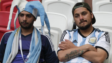 A bitter end: Argentina fans after the loss to France.
