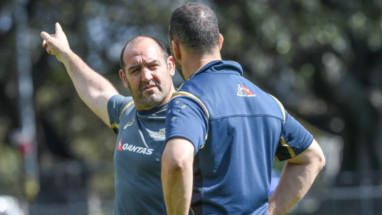 Old sparring partners: Mario Ledesma with Michael Cheika when the Argentine was the Wallabies' forwards coach.
