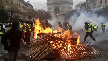 Demonstrators near the Arc de Triomphe on Saturday.