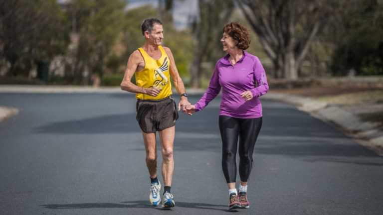 Jim and Maria White of Wanniassa, who this year will run their 41st and 35th Canberra Times Fun Run together.