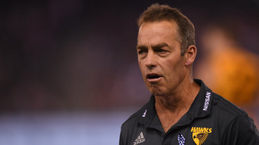 Plenty to ponder: Hawthorn coach Alastair Clarkson during the narrow round 4 loss to St Kilda at Marvel Stadium.