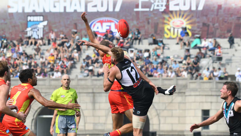The AFL predicts a larger crowd to Saturday's Suns-Power game in Shanghai  than last year.