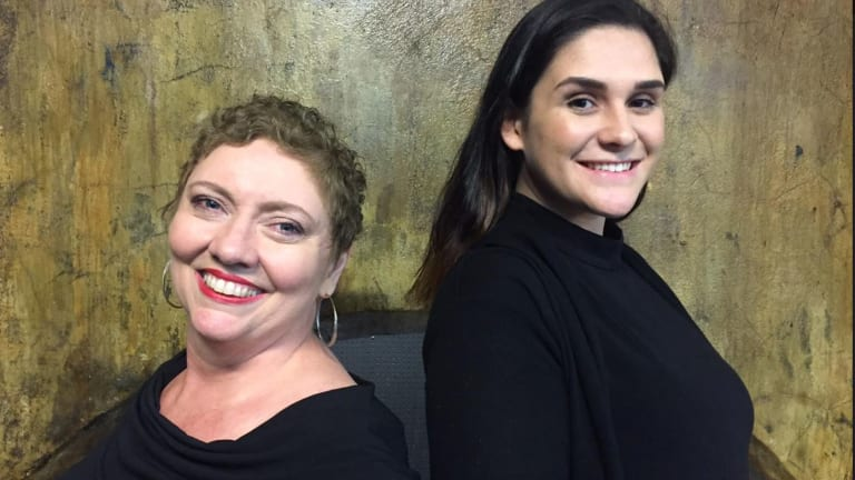 Women in Voice founder Annie Peterson (left) with rising singer Caitlin Wall, originally from Townsville.