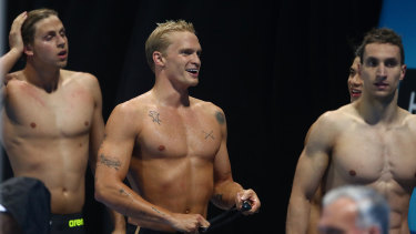 GOLD COAST, AUSTRALIA - APRIL 17: Cody Simpson leaves the pool after swimming the Mens 50m Butterfly during the 2021 Australian Swimming Championships at the Gold Coast Aquatic Centre on April 17, 2021 in Gold Coast, Australia. (Photo by Chris Hyde/Getty Images)