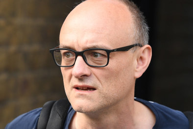 Dominic Cummings, chief adviser to Prime Minister Boris Johnson, leaves his home on May 26. Johnson's polling is plummeting over the scandal.