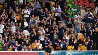 Cameron Smith waves to the crowd after being replaced with five minutes to go.