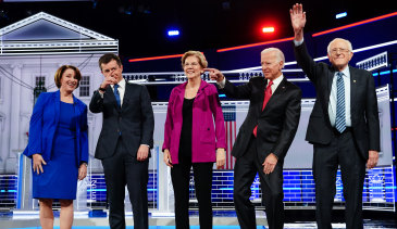 Presidential hopefuls from left: Amy Klobuchar, Pete Buttigieg, Elizabeth Warren, Joe Biden and Bernie Sanders stand on stage for the fifth Democratic presidential debate in Atlanta, Georgia, last month.