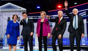 Presidential hopefuls from left: Amy Klobuchar, Pete Buttigieg, Elizabeth Warren, Joe Biden and Bernie Sanders stand on stage for the fifth Democratic presidential debate in Atlanta, Georgia, last month.