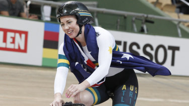 Kaarle McCulloch celebrates after winning the team sprint final with Stephanie Morton at the world championships.