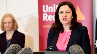 Premier Annastacia Palaszczuk (right) speaks at a press conference with Dr Jeannette Young (left) on June 30.