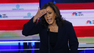 Democratic presidential candidate and California Senator Kamala Harris gestures during day two of the Democratic primary debate hosted by NBC News.