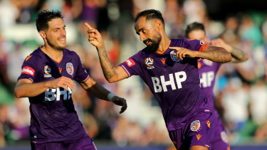 Perth Glory's Diego Castro celebrates a goal.