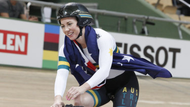 Kaarle McCulloch celebrates after winning the team sprint final with Stephanie Morton at the world championships last year.
