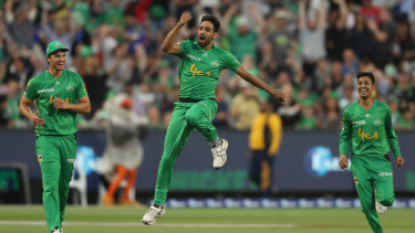 Haris Rauf of the Melbourne Stars celebrates his hat-trick during a Big Bash League match in early January.