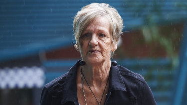 The mother of Adam Bidner, Kay, arriving at the inquest in March.
