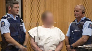 Brenton Tarrant appears in the District Court in Christchurch after his arrest.
