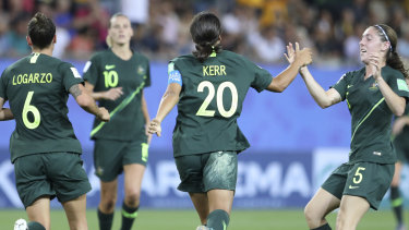 Australia's Sam Kerr, second right, celebrates after scoring her side's second goal.