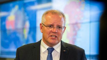 Prime Minister Scott Morrison at a crisis co-ordination centre.