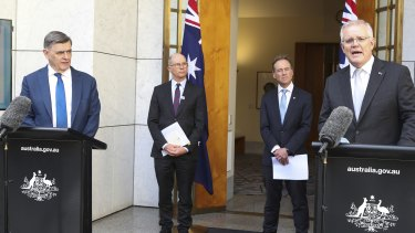 Secretary of the Department of Health Professor Brendan Murphy, Chief Medical Officer Professor Paul Kelly, Health Minister Greg Hunt and Prime Minister Scott Morrison announced the changes on Thursday.