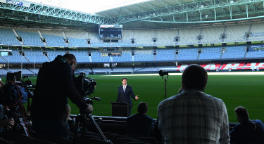 AFL CEO Gillon McLachlan at Friday's announcement at Marvel Stadium.