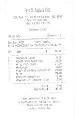 Receipt for lunch at Park St Pasta and Wine.