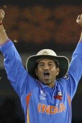 Indian great Sachin Tendulkar at the Cricket World Cup semi-final against Pakistan in 2011.
