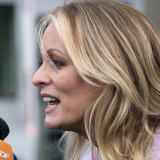 Adult film actress Stormy Daniels outside federal court.