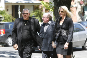 Mick Gatto (left) and Nicola Gobbo (right) at the funeral of law clerk and Labor man Stephen Drazetic in 2008.