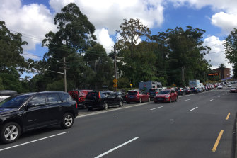 A queue of traffic near Wahroonga heading north out of Sydney on Good Friday.
