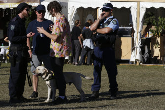 A police sniffer dog squad speak to a festival goer at Splendour on Saturday.