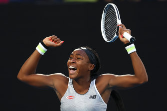 Coco Gauff celebrates her win over defending champion Naomi Osaka at the Australian Open.