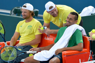 Countryman Sam Groth (centre) had a unique viewpoint of Nick Kyrgios' Wimbledon rise in 2014: he was the man vanquished earlier that month as the Canberran earned a wildcard which led to his arrival on the most famous court of all.