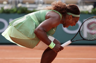 Serena Williams celebrates match point against Danielle Collins at Roland-Garros.