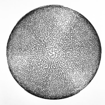 Erica Seccombe, in collaboration with Stuart Ramsden, <i>Testing Space on a Sphere</i>, detail, 2018 in<i>Connections: Part One</i> at Megalo Print Gallery.