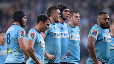 Curtains: The Waratahs look on during their defeat to the Brumbies.
