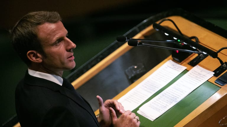 Wants a return to diplomacy: French President Emmanuel Macron at the UN General Assembly on Tuesday.