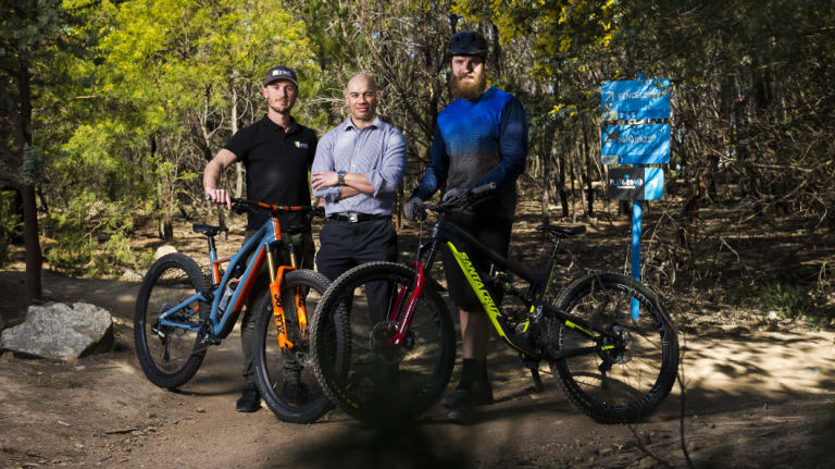 Mountain bikers Ryan Walsch, Michael Clark and Josh Kentwell. who say there is a need for more challenging trails in Stromlo Forest Park.