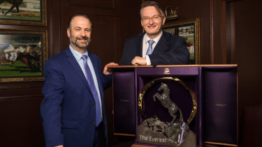 Big prize: Peter V'landys and Australian Turf Club CEO Darren Pearce with The Everest trophy.