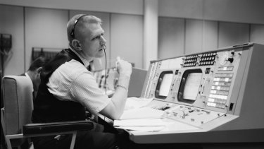 Gene Kranz, flight director, in the control room during the Gemini program in 1965.