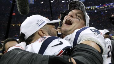 Dynasty: New England Patriots Kyle Van Noy, and Rob Gronkowski celebrate the Super Bowl victory.